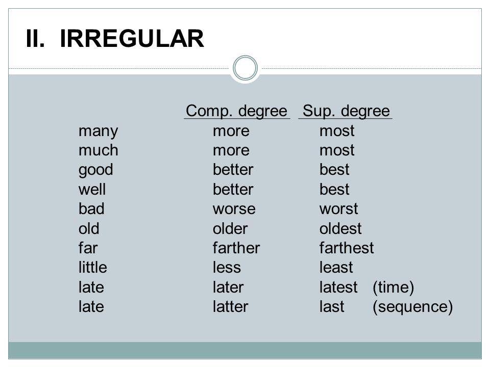 II. IRREGULAR Comp. degree Sup.