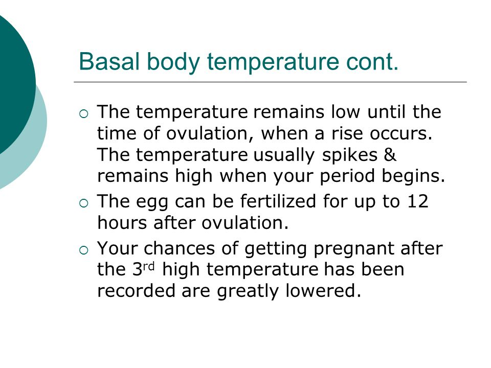 Basal body temperature cont.