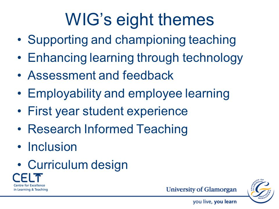 WIG's eight themes Supporting and championing teaching Enhancing learning through technology Assessment and feedback Employability and employee learning First year student experience Research Informed Teaching Inclusion Curriculum design