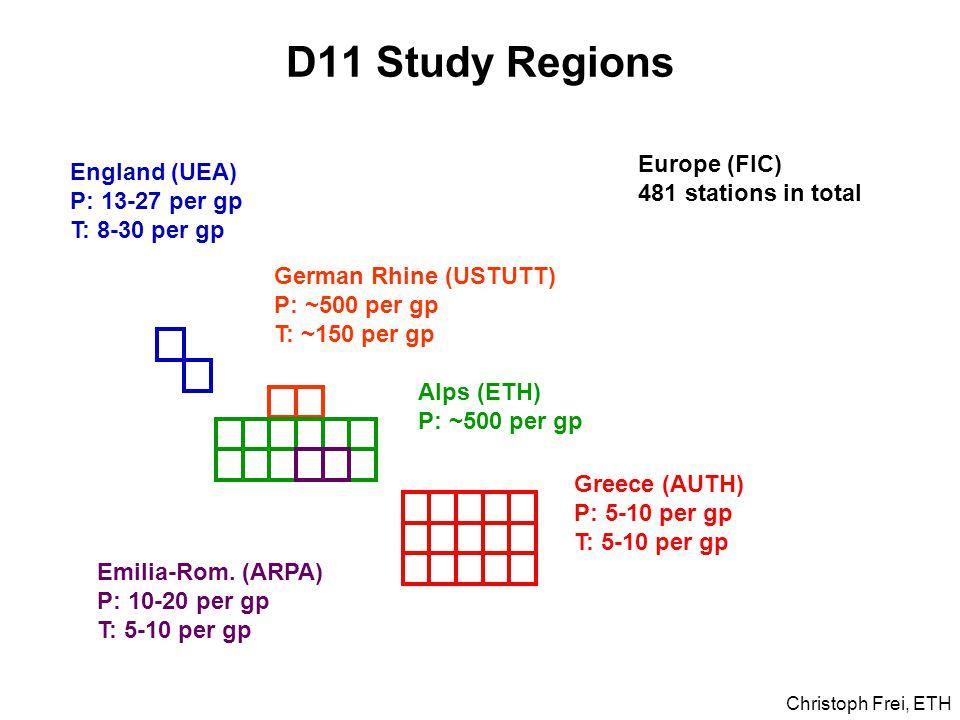 D11 Study Regions England (UEA) P: 13-27 per gp T: 8-30 per gp German Rhine (USTUTT) P: ~500 per gp T: ~150 per gp Greece (AUTH) P: 5-10 per gp T: 5-10 per gp Emilia-Rom.