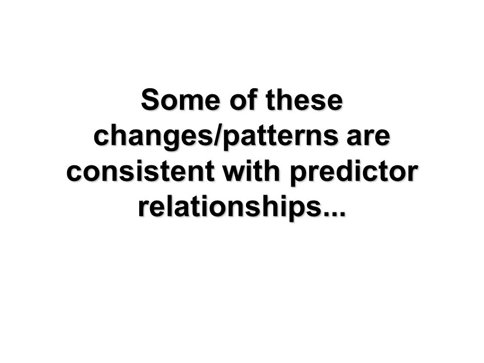 Some of these changes/patterns are consistent with predictor relationships...