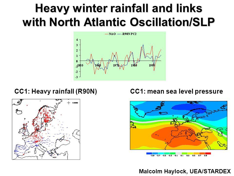 Heavy winter rainfall and links with North Atlantic Oscillation/SLP CC1: Heavy rainfall (R90N) CC1: mean sea level pressure Malcolm Haylock, UEA/STARDEX