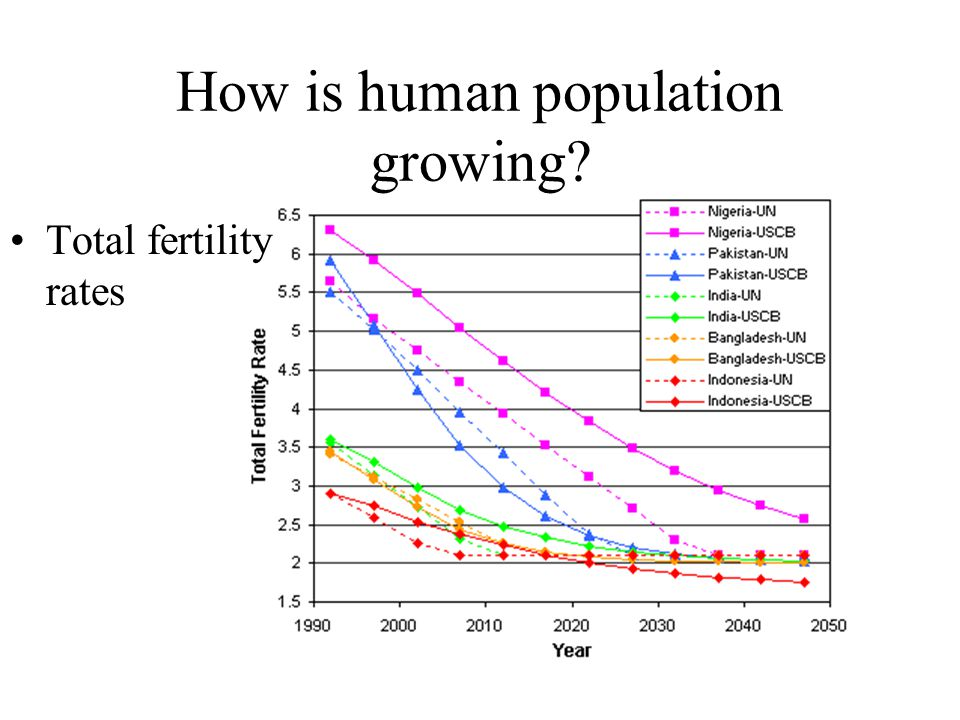 How is human population growing Total fertility rates