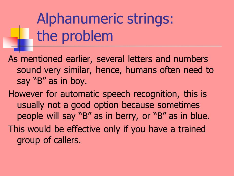 Alphanumeric strings: the problem As mentioned earlier, several letters and numbers sound very similar, hence, humans often need to say B as in boy.