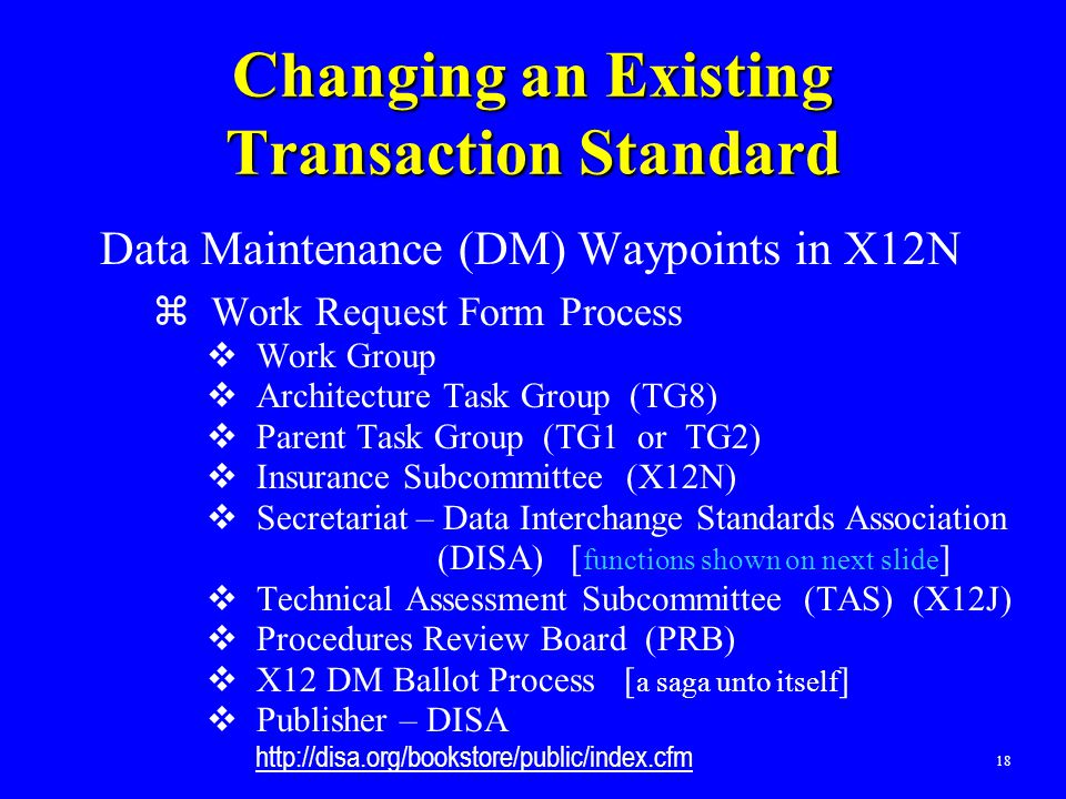 18 Changing an Existing Transaction Standard Data Maintenance (DM) Waypoints in X12N  Work Request Form Process  Work Group  Architecture Task Grou