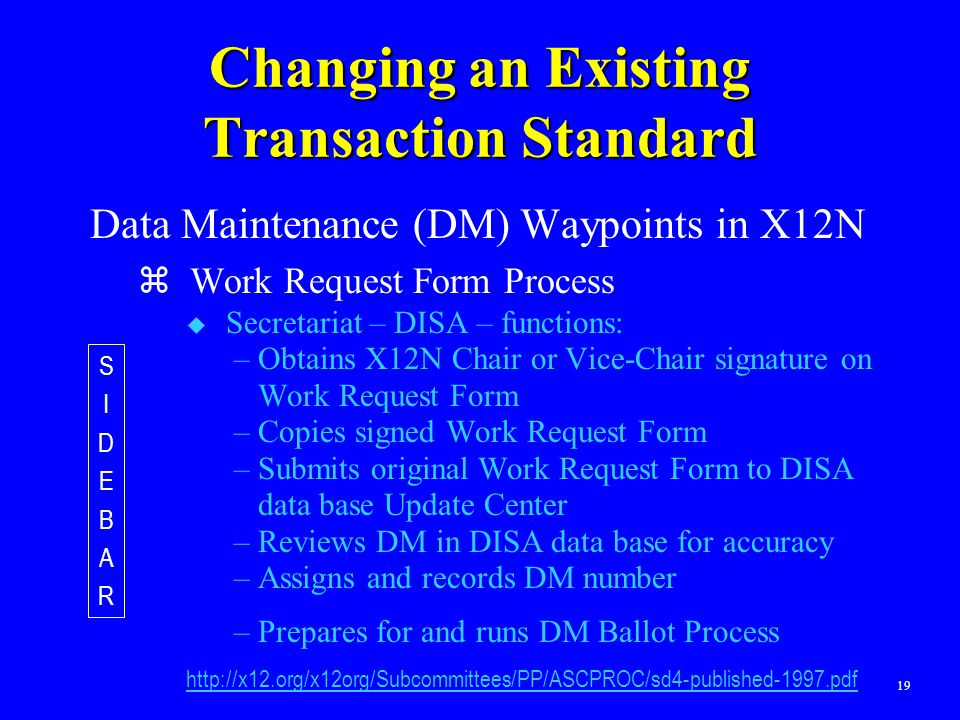 19 Changing an Existing Transaction Standard Data Maintenance (DM) Waypoints in X12N  Work Request Form Process  Secretariat – DISA – functions: –Ob