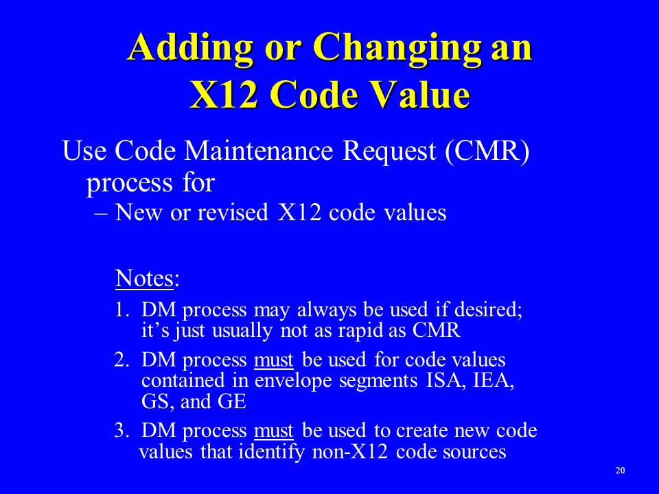 20 Adding or Changing an X12 Code Value Use Code Maintenance Request (CMR) process for –New or revised X12 code values Notes: 1. DM process may always