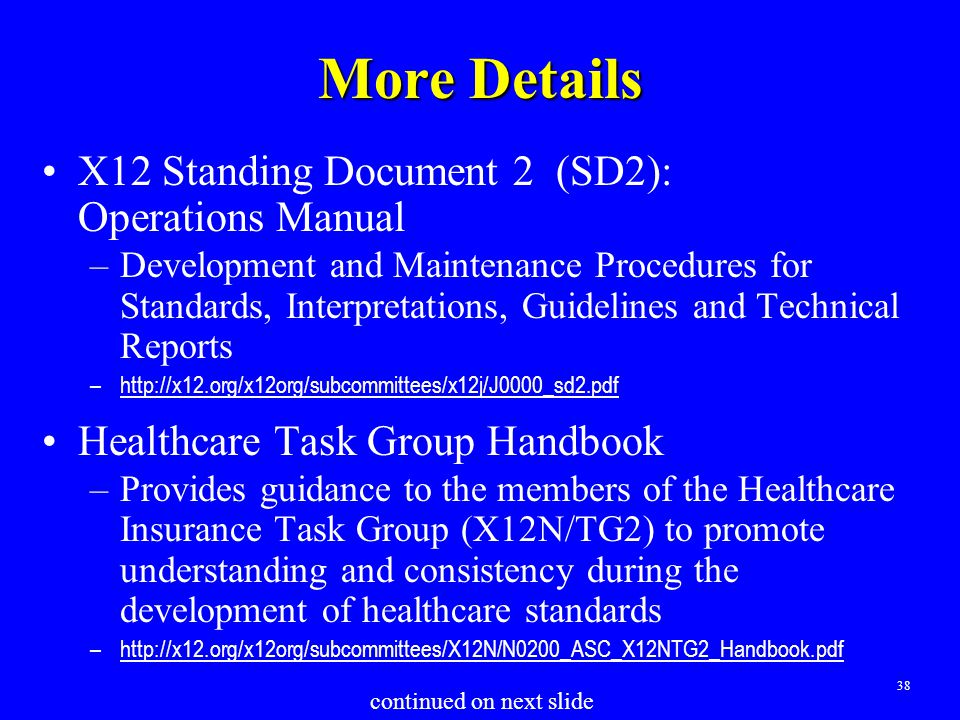 38 More Details X12 Standing Document 2 (SD2): Operations Manual –Development and Maintenance Procedures for Standards, Interpretations, Guidelines an