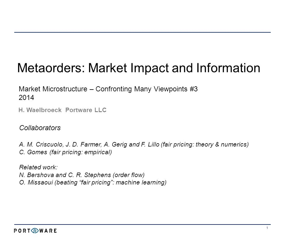 Metaorders: Market Impact and Information 1 H.