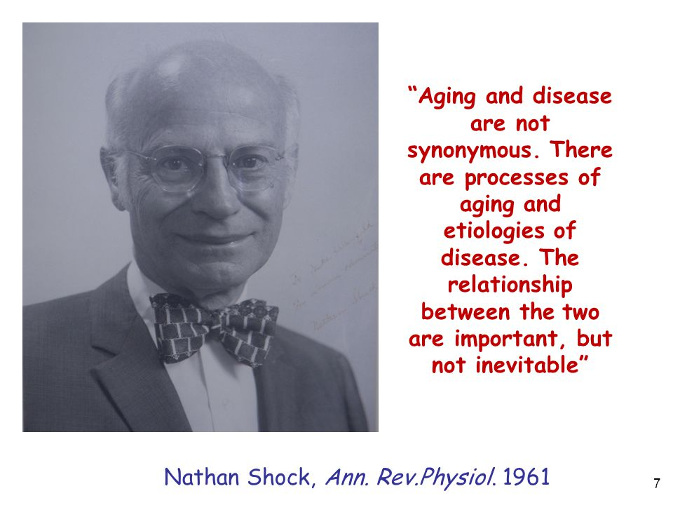 Aging and disease are not synonymous. There are processes of aging and etiologies of disease.