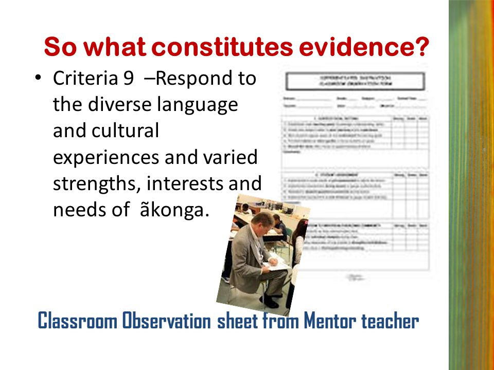 So what constitutes evidence? Criteria 9 –Respond to the diverse language and cultural experiences and varied strengths, interests and needs of ãkonga