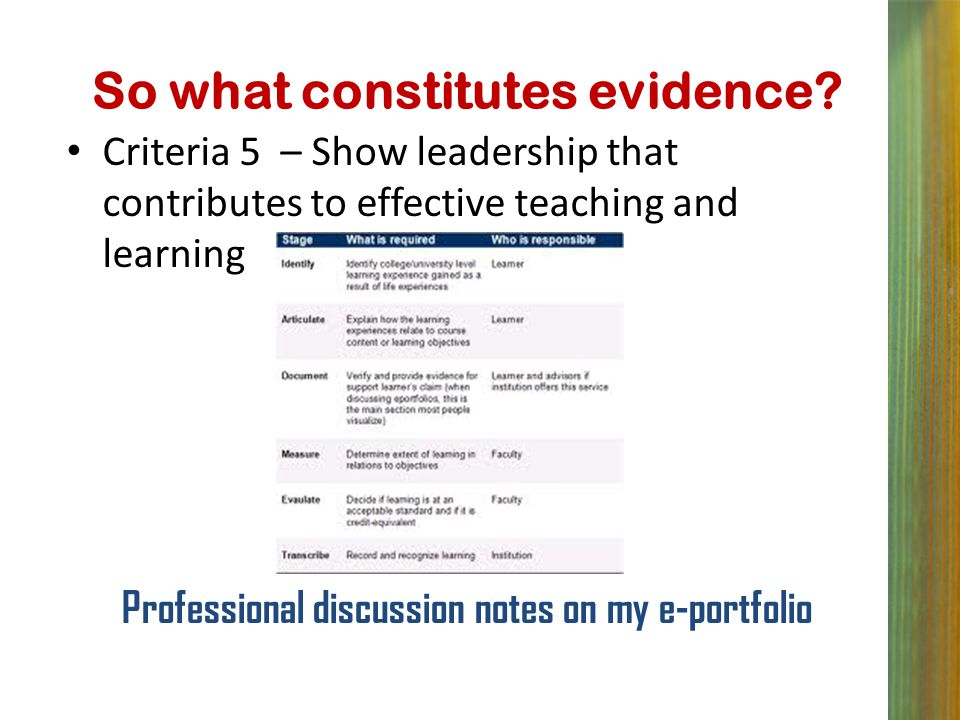 So what constitutes evidence? Criteria 5 – Show leadership that contributes to effective teaching and learning Professional discussion notes on my e-p