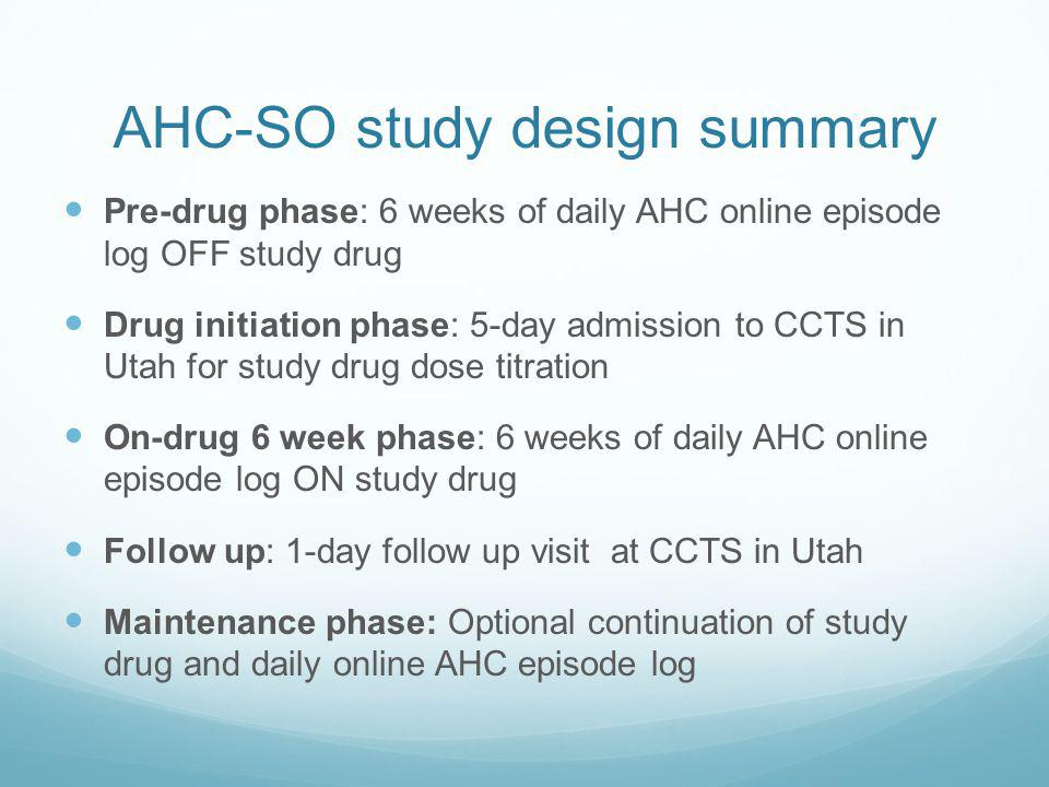 AHC-SO study design summary Pre-drug phase: 6 weeks of daily AHC online episode log OFF study drug Drug initiation phase: 5-day admission to CCTS in Utah for study drug dose titration On-drug 6 week phase: 6 weeks of daily AHC online episode log ON study drug Follow up: 1-day follow up visit at CCTS in Utah Maintenance phase: Optional continuation of study drug and daily online AHC episode log