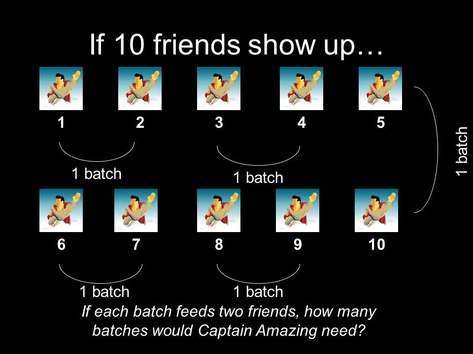 If 10 friends show up… 1 5 4 3 2 10 9 8 7 6 If each batch feeds two friends, how many batches would Captain Amazing need? 1 batch