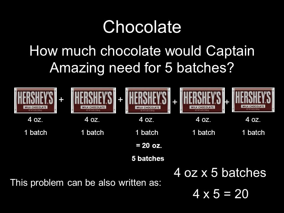 Chocolate 4 oz x 5 batches + + + + 4 oz.1 batch 4 oz.