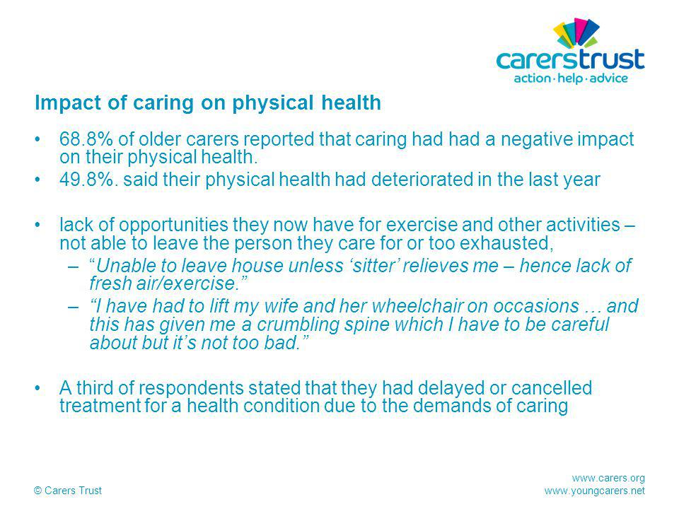 www.carers.org www.youngcarers.net © Carers Trust Impact of caring on physical health 68.8% of older carers reported that caring had had a negative impact on their physical health.