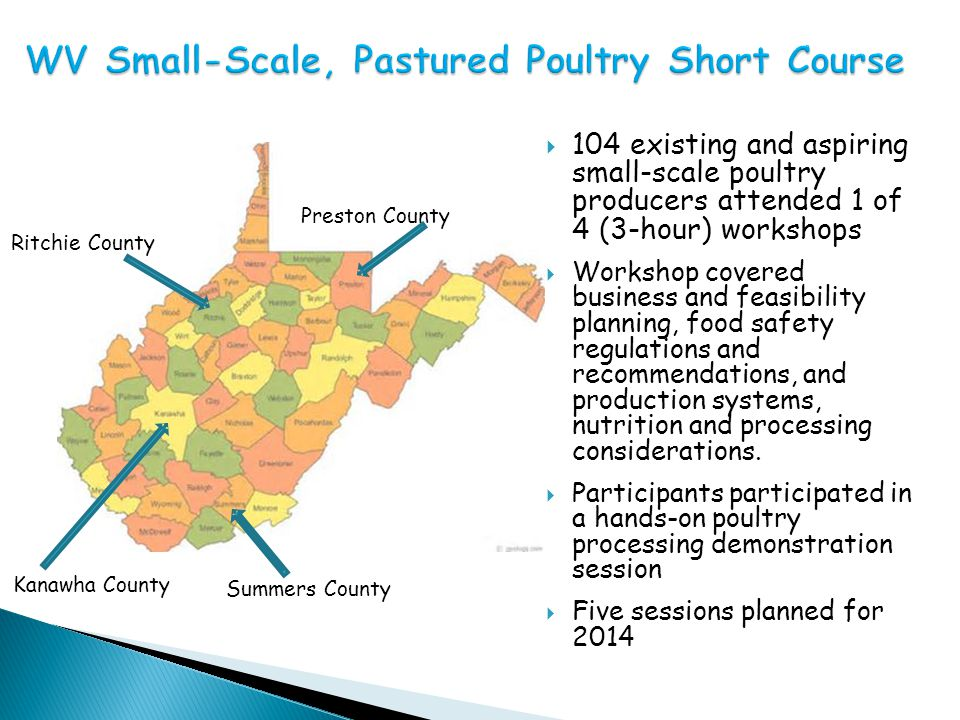  Strong demand for pastured poultry exists  Potential for extra farm income/new farm income  Low capital investment required to get started  Can start small and grow  Can be run by one person  Kids can help  Provides sustainably produced meat  Chickens build soil fertility  Chickens attract customers for other products  Proposed rule change to expand on-farm processing exemptions for poultry slaughter to 20,000 birds RainbowFarmsWV.com
