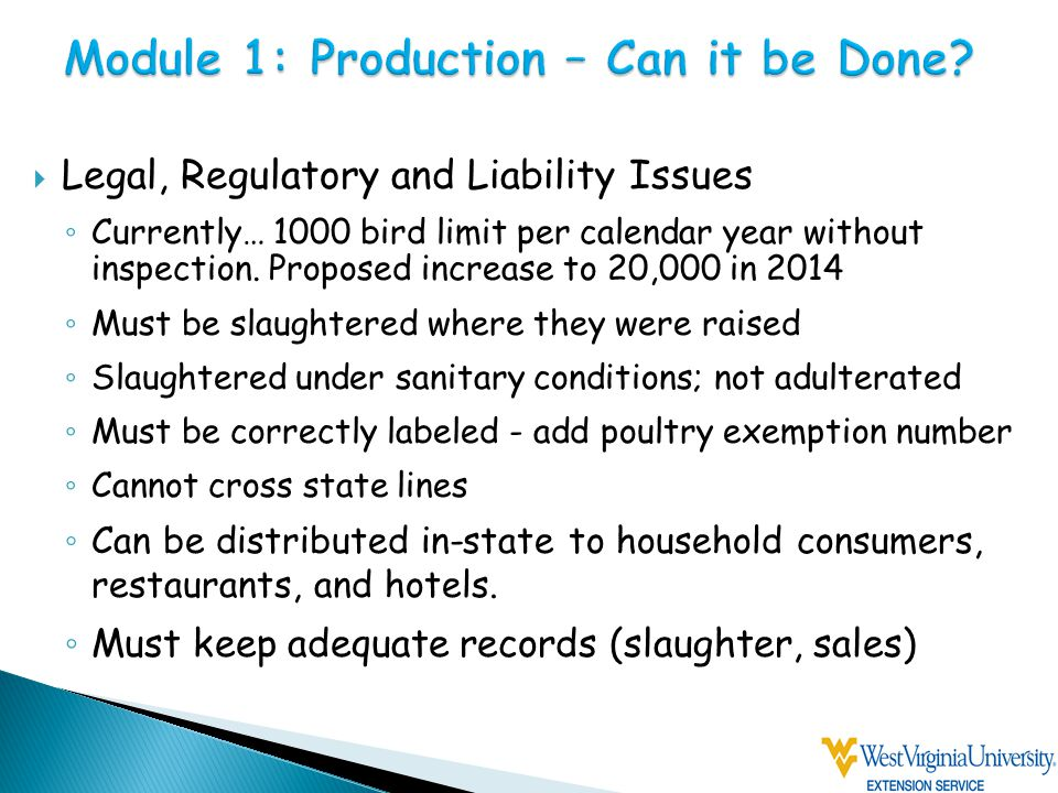  Legal, Regulatory and Liability Issues ◦ Currently… 1000 bird limit per calendar year without inspection.