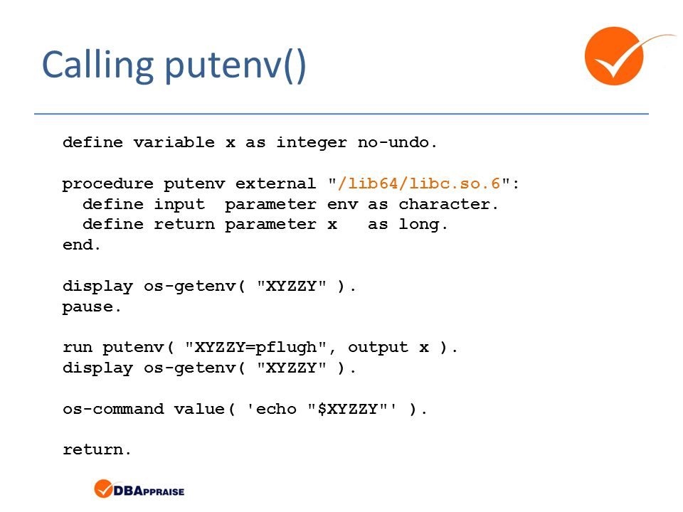 Calling putenv() define variable x as integer no-undo.