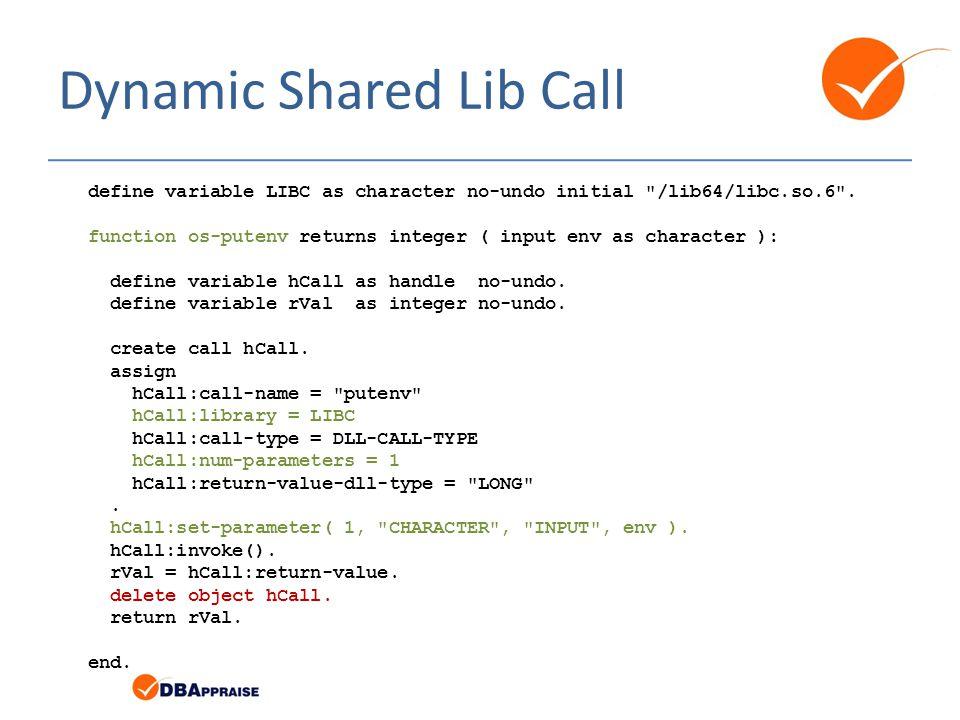 Dynamic Shared Lib Call define variable LIBC as character no-undo initial /lib64/libc.so.6 .