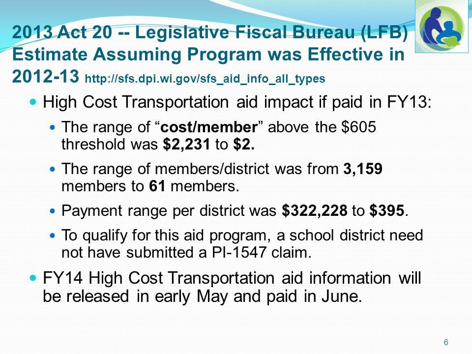 2013 Act 20 -- Legislative Fiscal Bureau (LFB) Estimate Assuming Program was Effective in 2012-13 http://sfs.dpi.wi.gov/sfs_aid_info_all_types High Co