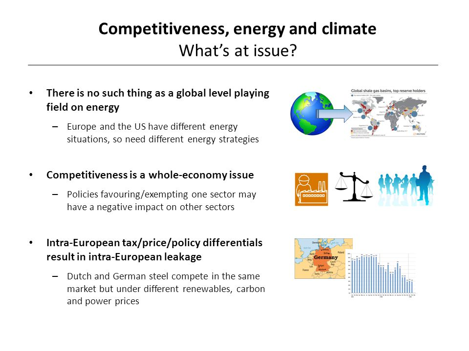 There is no such thing as a global level playing field on energy – Europe and the US have different energy situations, so need different energy strategies Competitiveness is a whole-economy issue – Policies favouring/exempting one sector may have a negative impact on other sectors Intra-European tax/price/policy differentials result in intra-European leakage – Dutch and German steel compete in the same market but under different renewables, carbon and power prices Competitiveness, energy and climate What's at issue?