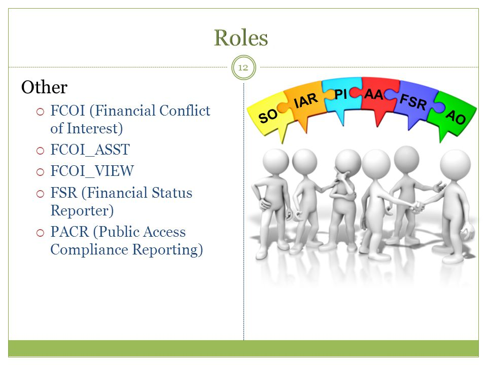 Other  FCOI (Financial Conflict of Interest)  FCOI_ASST  FCOI_VIEW  FSR (Financial Status Reporter)  PACR (Public Access Compliance Reporting) 12
