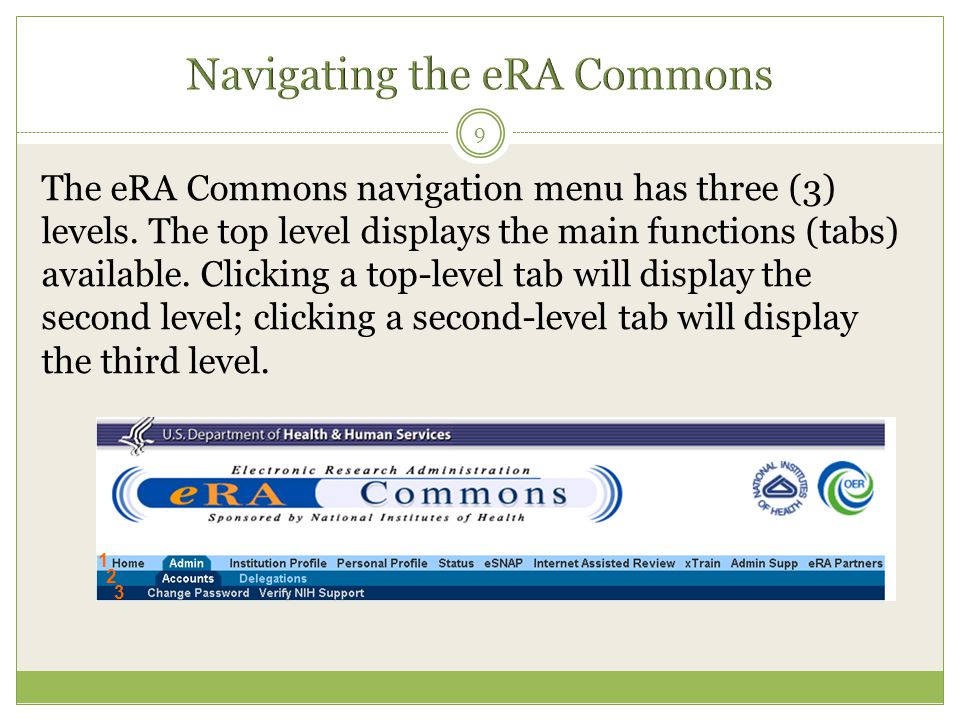 The eRA Commons navigation menu has three (3) levels. The top level displays the main functions (tabs) available. Clicking a top-level tab will displa