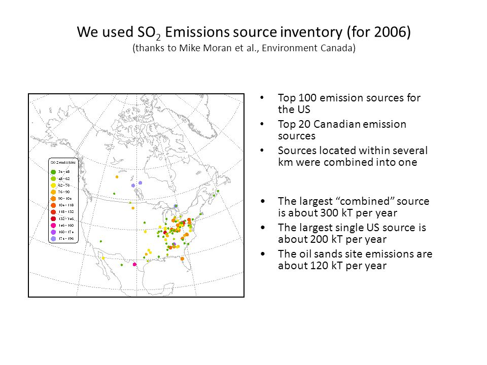 We used SO 2 Emissions source inventory (for 2006) (thanks to Mike Moran et al., Environment Canada) Top 100 emission sources for the US Top 20 Canadian emission sources Sources located within several km were combined into one The largest combined source is about 300 kT per year The largest single US source is about 200 kT per year The oil sands site emissions are about 120 kT per year
