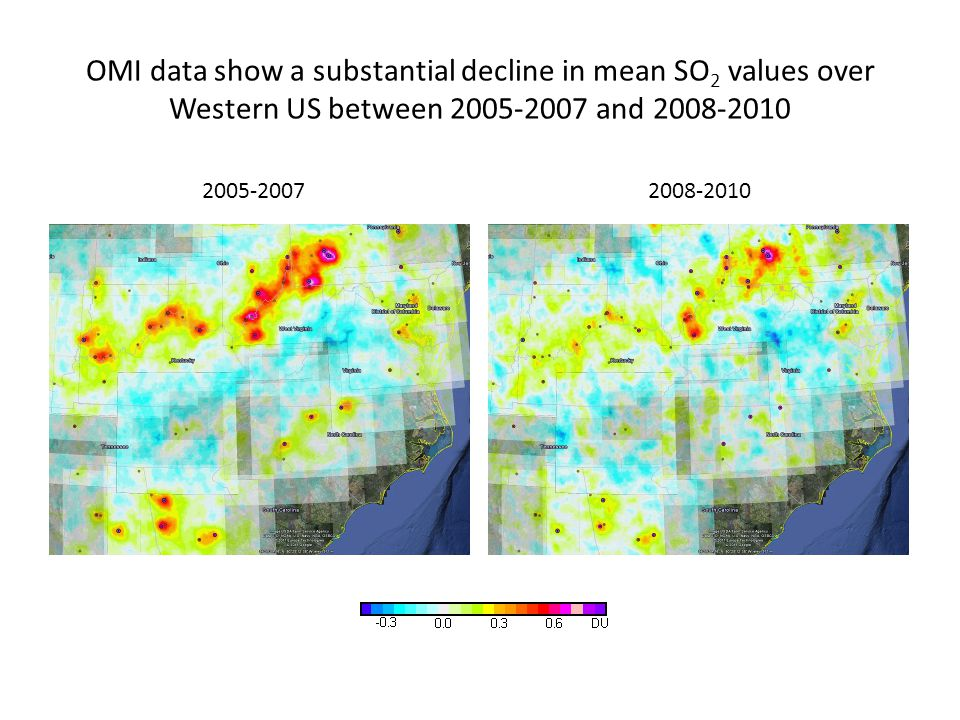 OMI data show a substantial decline in mean SO 2 values over Western US between 2005-2007 and 2008-2010 2005-20072008-2010