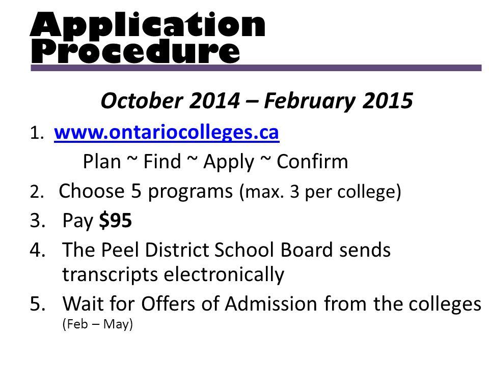 Application Procedure October 2014 – February 2015 1. www.ontariocolleges.ca www.ontariocolleges.ca Plan ~ Find ~ Apply ~ Confirm 2. Choose 5 programs
