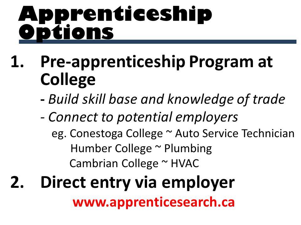1.Pre-apprenticeship Program at College - Build skill base and knowledge of trade - Connect to potential employers eg. Conestoga College ~ Auto Servic
