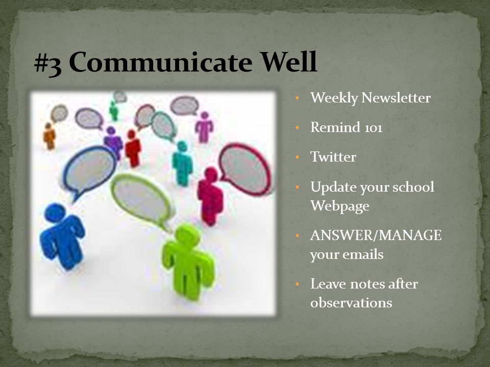 Weekly Newsletter Remind 101 Twitter Update your school Webpage ANSWER/MANAGE your emails Leave notes after observations