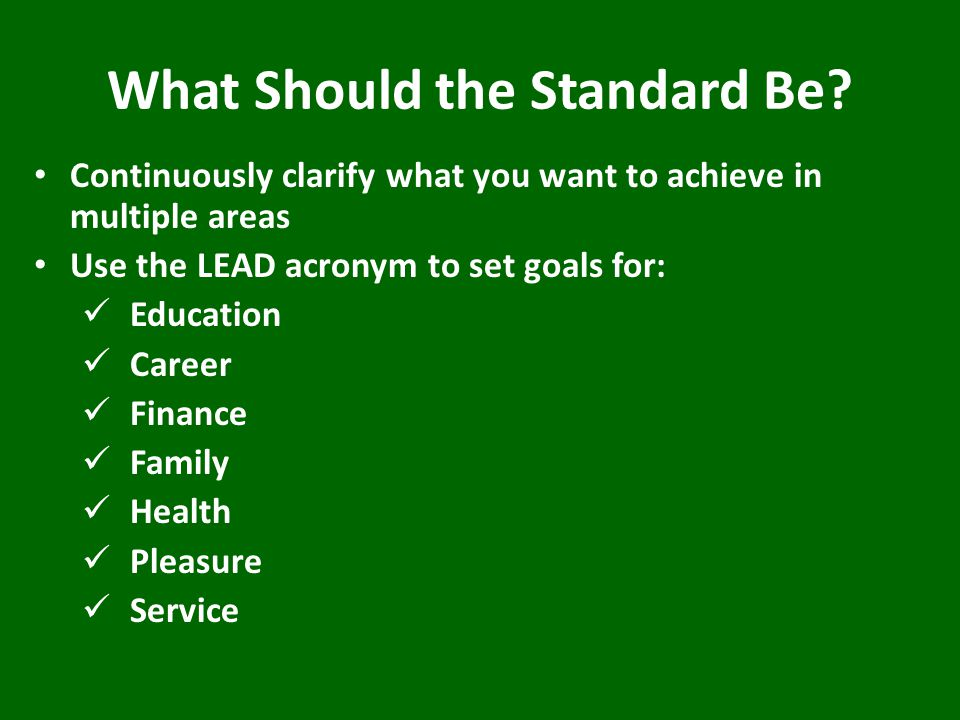 What Should the Standard Be.