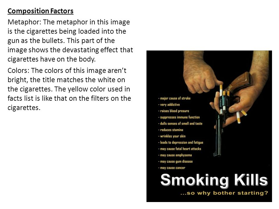 Composition Factors Metaphor: The metaphor in this image is the cigarettes being loaded into the gun as the bullets. This part of the image shows the
