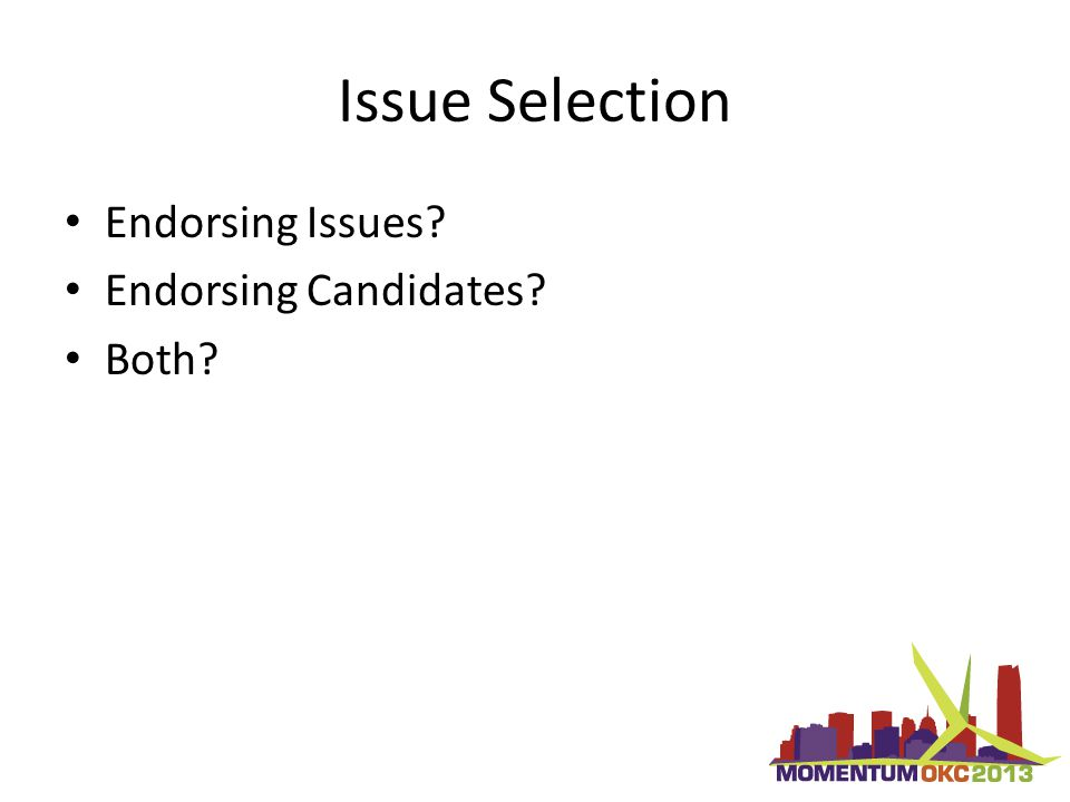 Issue Selection Endorsing Issues Endorsing Candidates Both