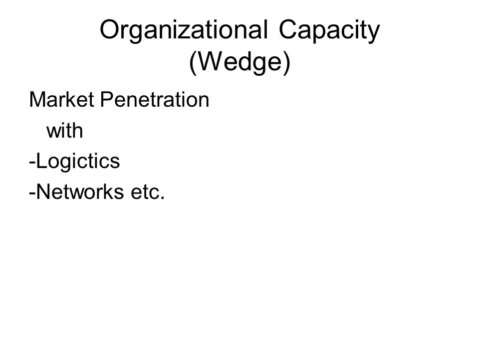 Organizational Capacity (Wedge) Market Penetration with -Logictics -Networks etc.
