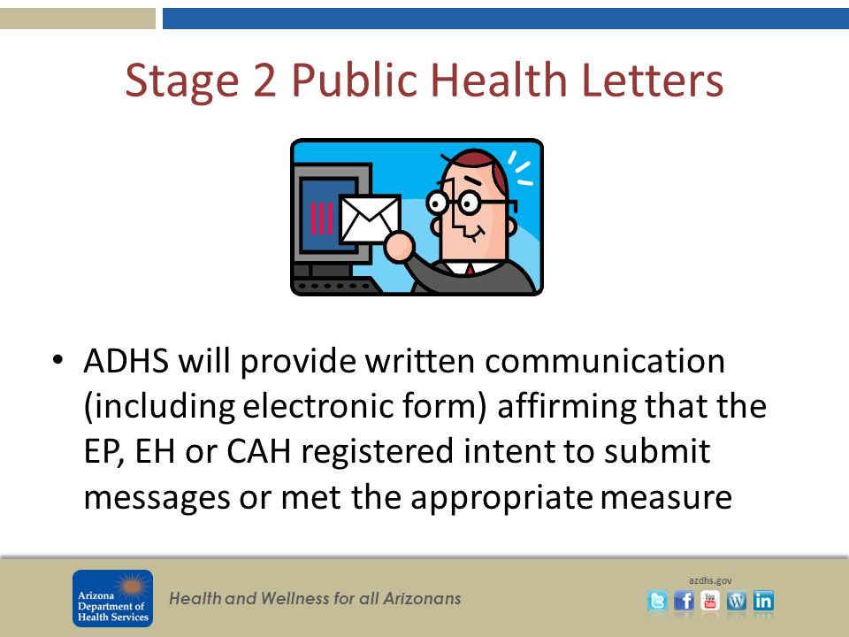 Health and Wellness for all Arizonans azdhs.gov Stage 2 Public Health Letters ADHS will provide written communication (including electronic form) affirming that the EP, EH or CAH registered intent to submit messages or met the appropriate measure