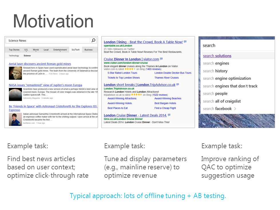 Example task: Find best news articles based on user context; optimize click-through rate Example task: Tune ad display parameters (e.g., mainline rese