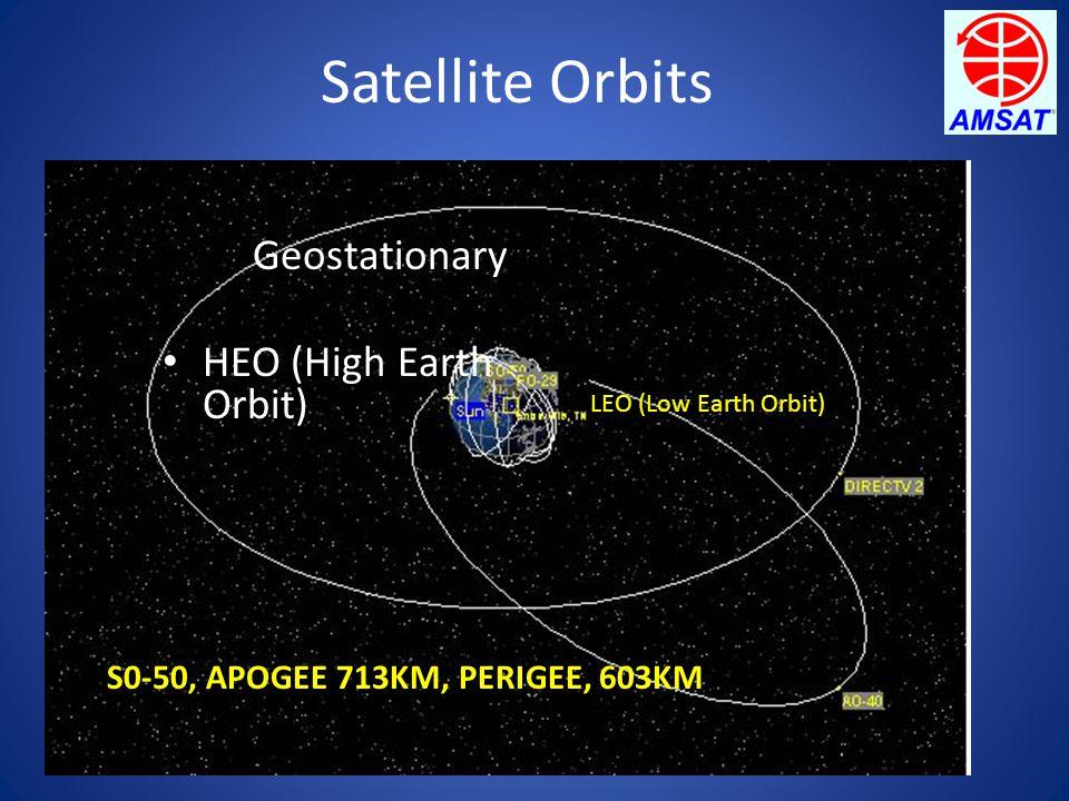 Satellite Orbits Geostationary HEO (High Earth Orbit) S0-50, APOGEE 713KM, PERIGEE, 603KM LEO (Low Earth Orbit)