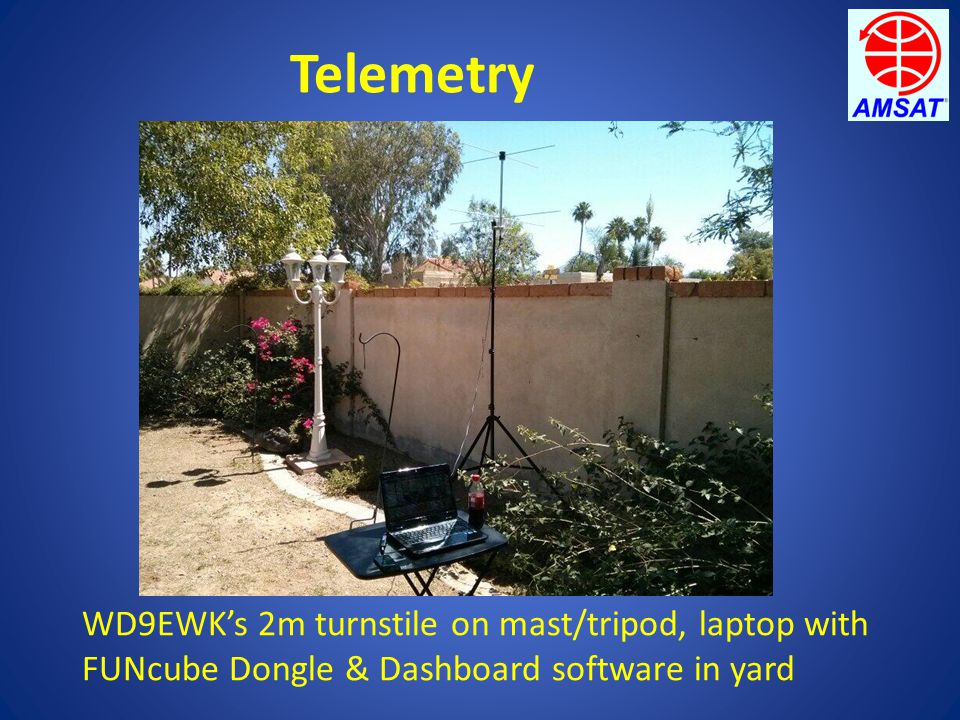 Telemetry WD9EWK's 2m turnstile on mast/tripod, laptop with FUNcube Dongle & Dashboard software in yard
