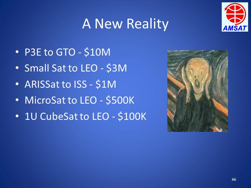 66 A New Reality P3E to GTO - $10M Small Sat to LEO - $3M ARISSat to ISS - $1M MicroSat to LEO - $500K 1U CubeSat to LEO - $100K