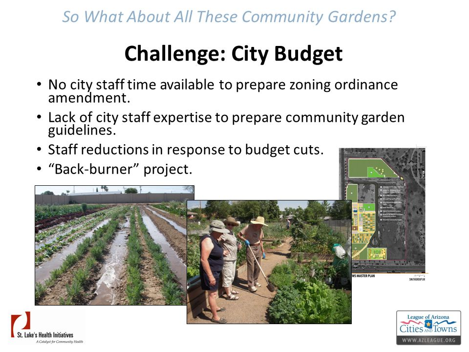 So What About All These Community Gardens? Challenge: City Budget No city staff time available to prepare zoning ordinance amendment. Lack of city sta