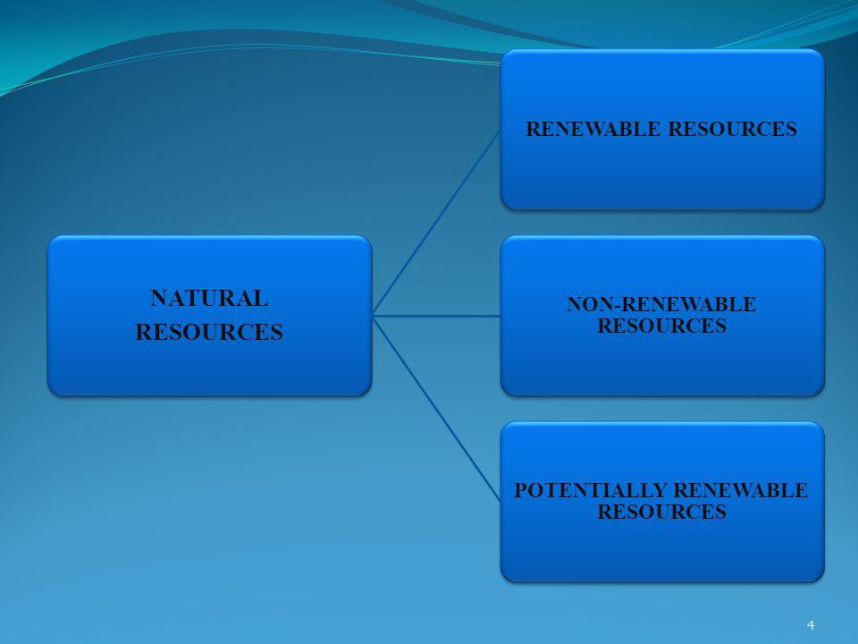 NATURAL RESOURCES RENEWABLE RESOURCES NON-RENEWABLE RESOURCES POTENTIALLY RENEWABLE RESOURCES 4