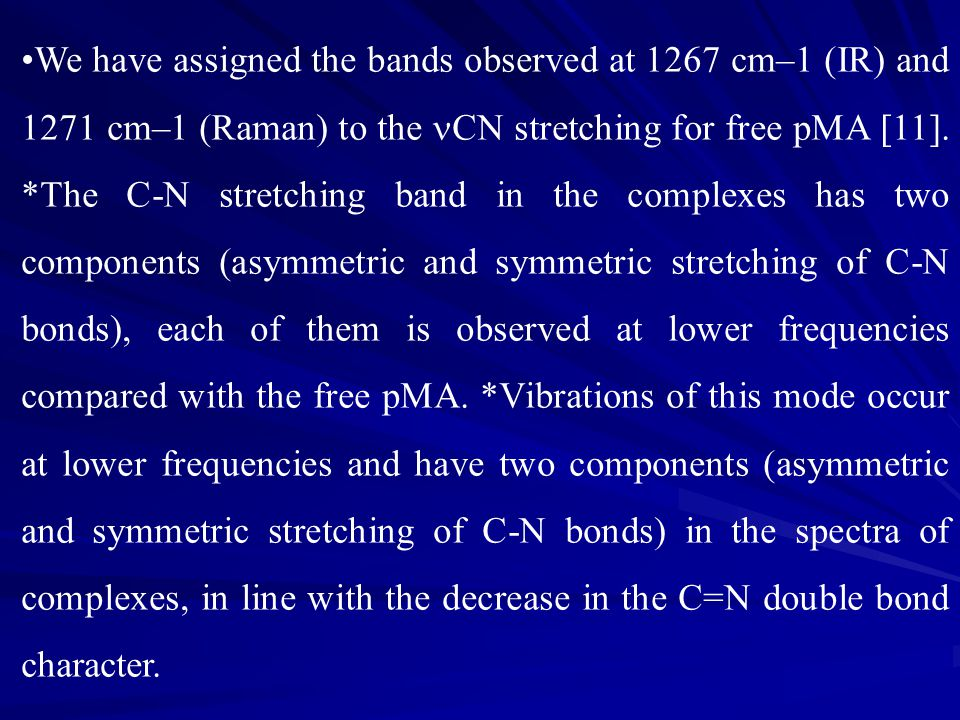 We have assigned the bands observed at 1267 cm–1 (IR) and 1271 cm–1 (Raman) to the CN stretching for free pMA [11]. *The C-N stretching band in the co