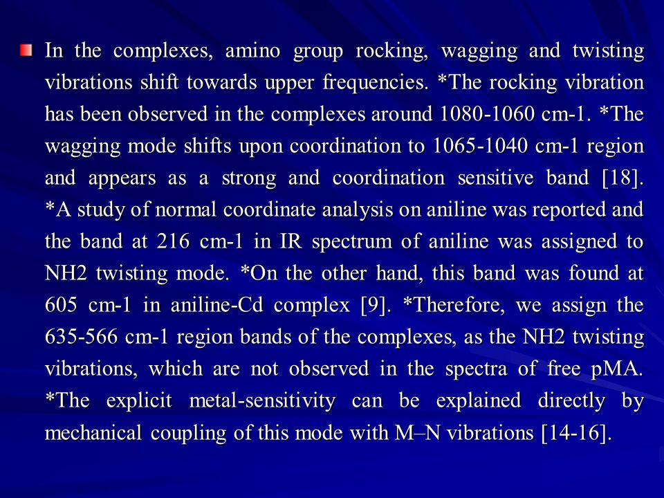 In the complexes, amino group rocking, wagging and twisting vibrations shift towards upper frequencies.