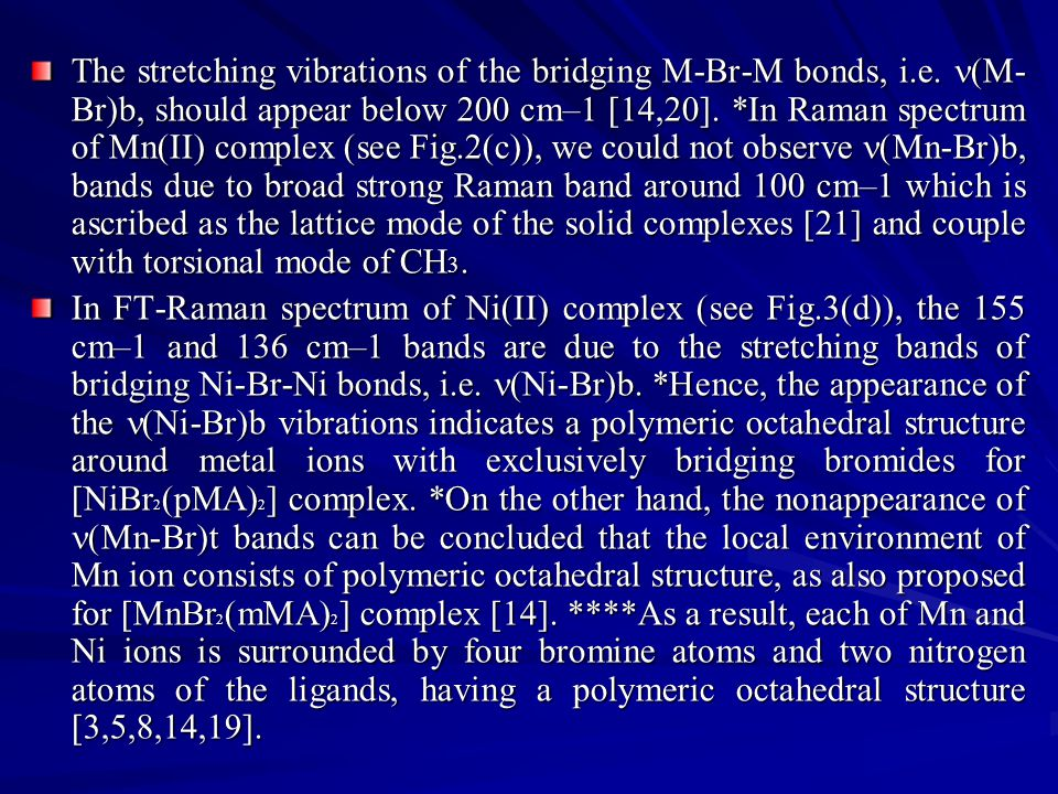 The stretching vibrations of the bridging M-Br-M bonds, i.e. (M- Br)b, should appear below 200 cm–1 [14,20]. *In Raman spectrum of Mn(II) complex (see