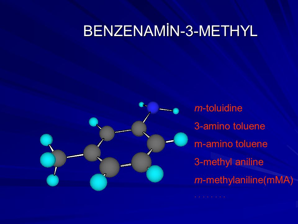 BENZENAMİN-3-METHYL m-toluidine 3-amino toluene m-amino toluene 3-methyl aniline m-methylaniline(mMA)....