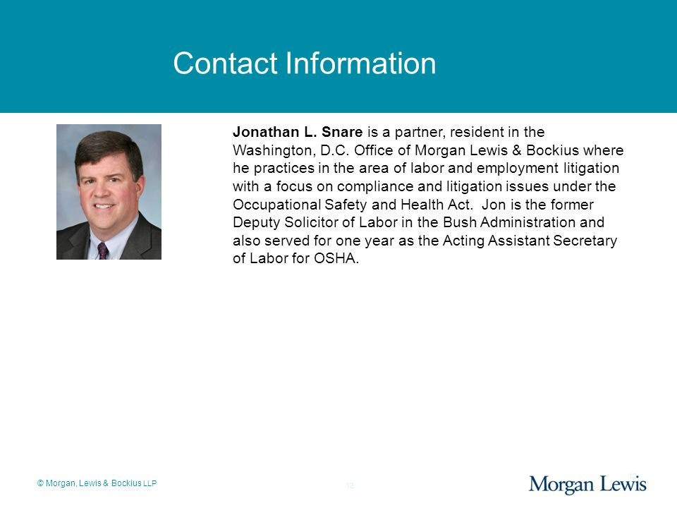 © Morgan, Lewis & Bockius LLP 12 Contact Information 12 Jonathan L.