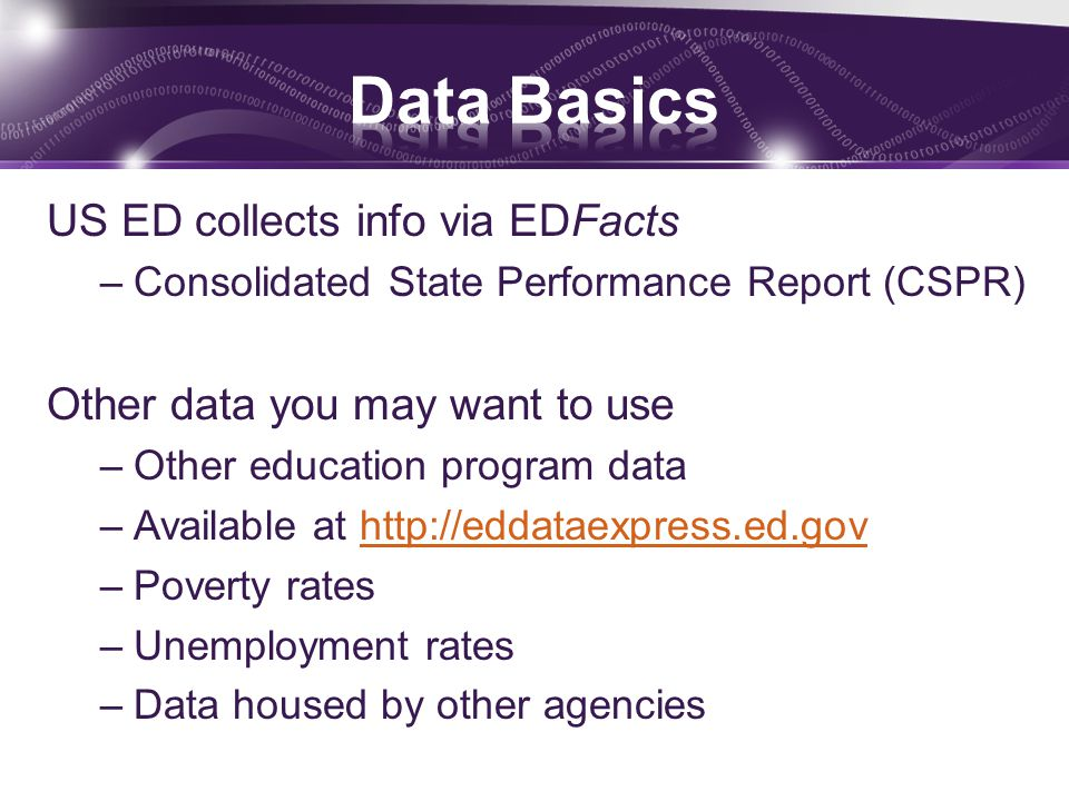 US ED collects info via EDFacts –Consolidated State Performance Report (CSPR) Other data you may want to use –Other education program data –Available at http://eddataexpress.ed.govhttp://eddataexpress.ed.gov –Poverty rates –Unemployment rates –Data housed by other agencies